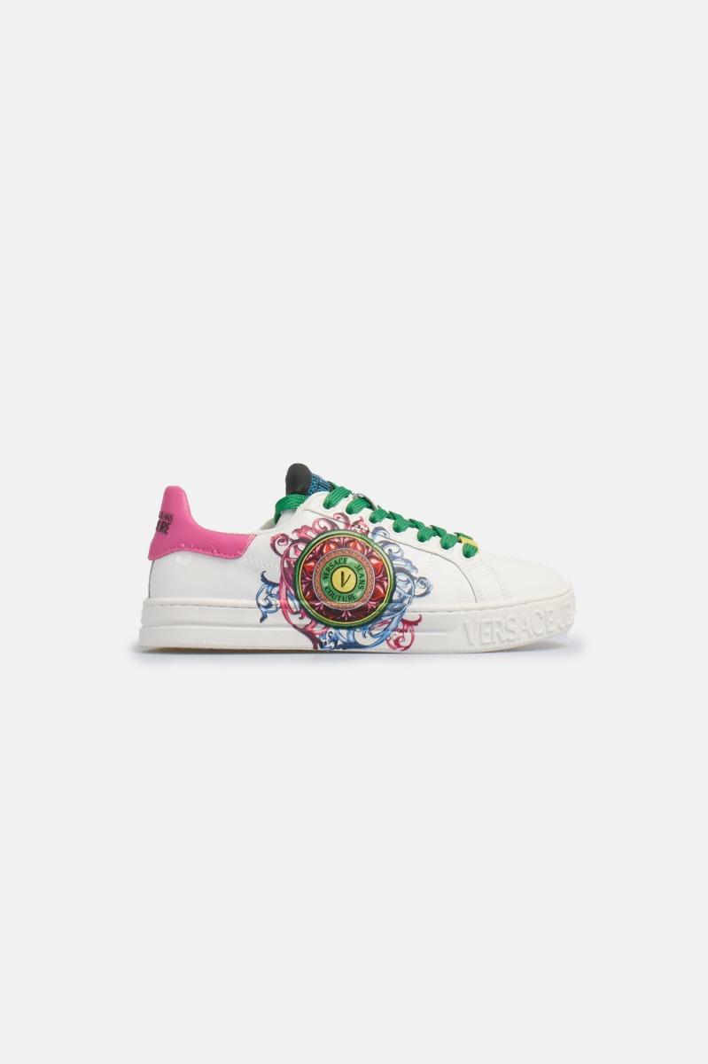 Sneaker fondo court printed -Bianco