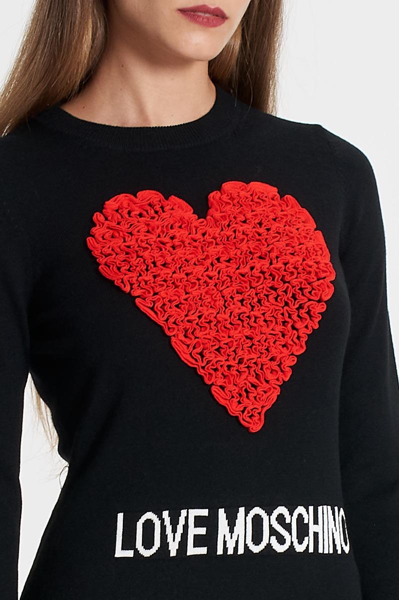 Abito maglia cuore 3d- Nero
