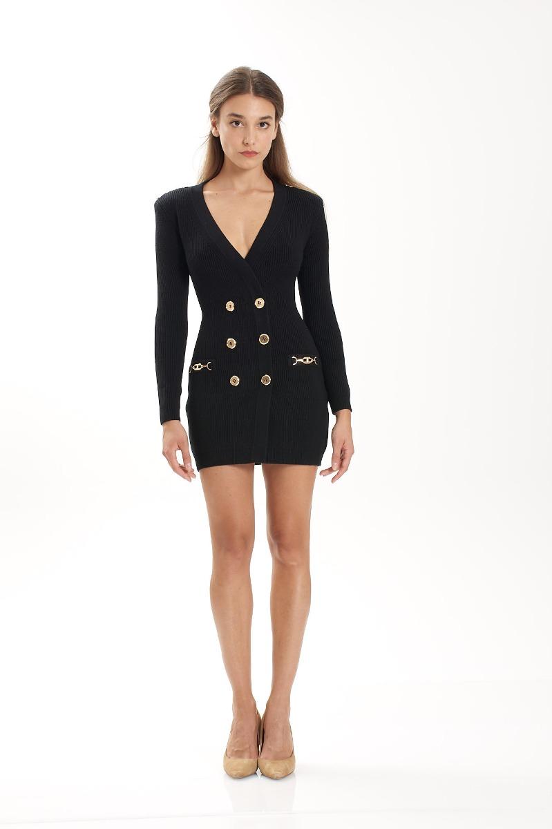 Abito robe manteau in maglia - Nero