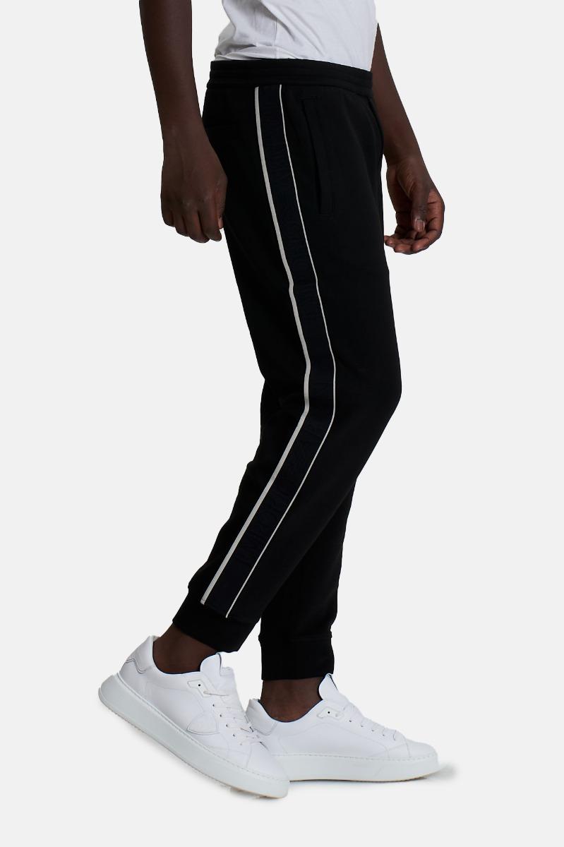 Pantalone felpa logo elastico -Nero