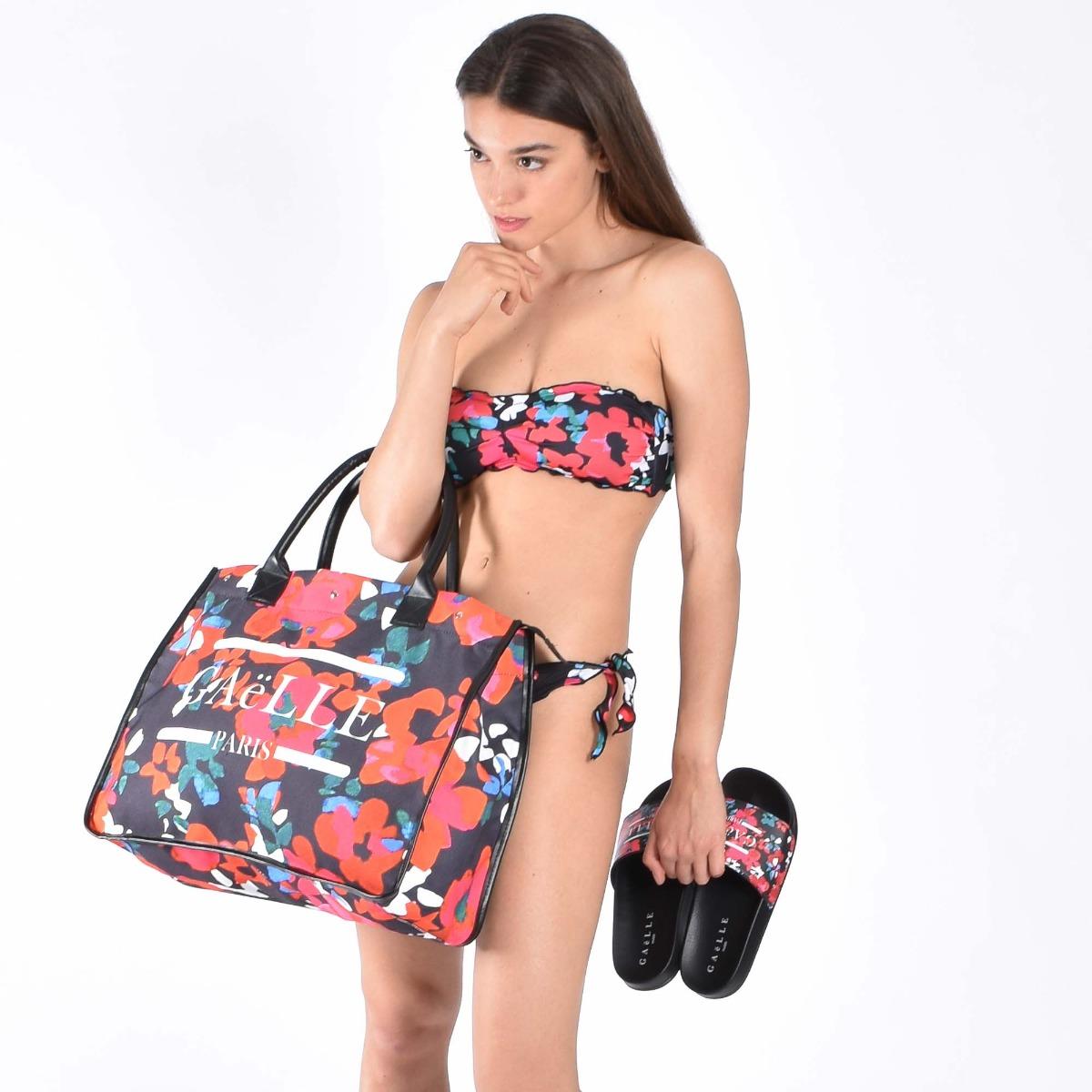 Bikini fascia fiori- Nero