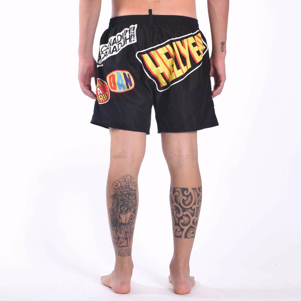 Boxer Traveller Patch Swim Trunks - Nero