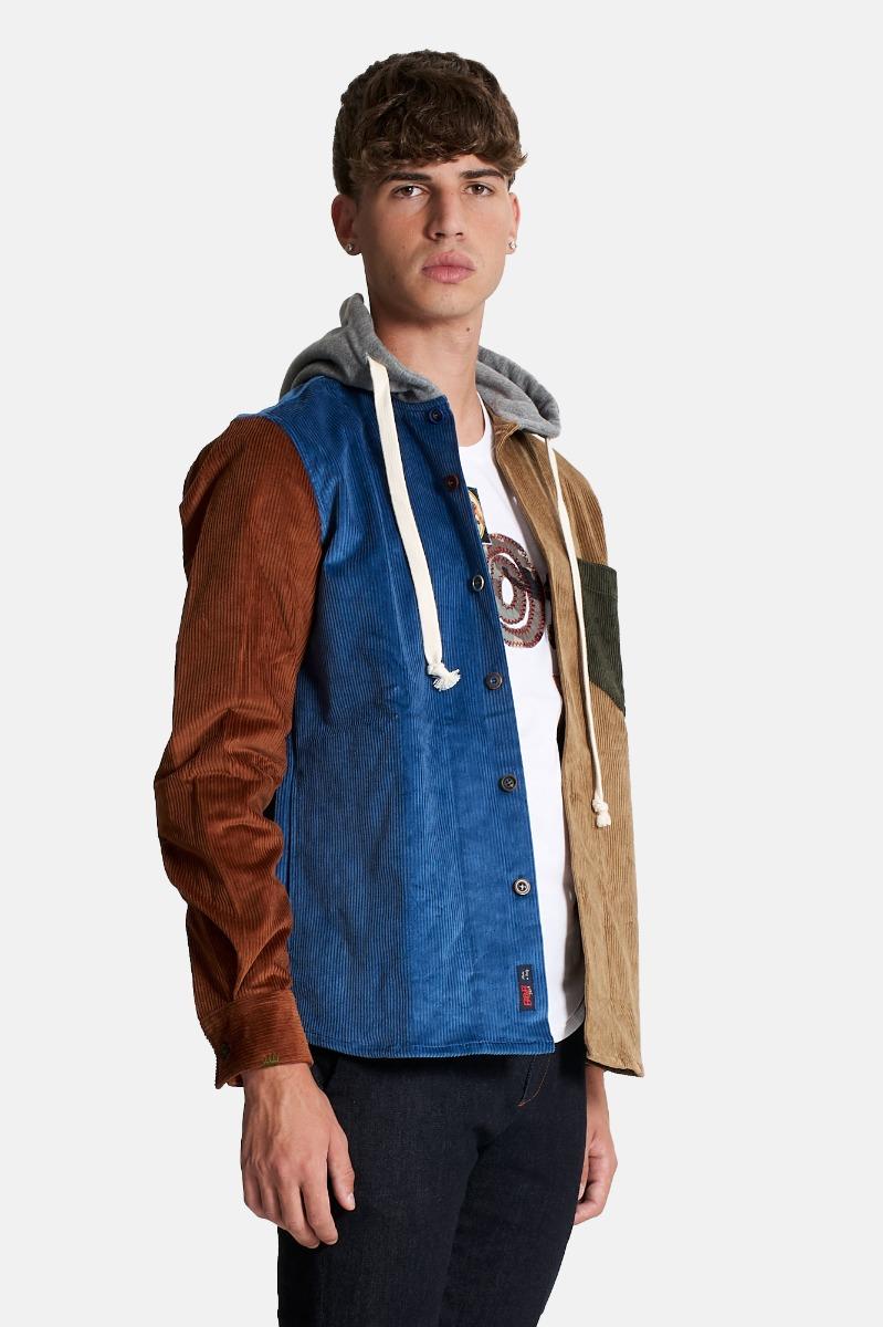 Giacca camicia velluto cappuccio -Multicolor