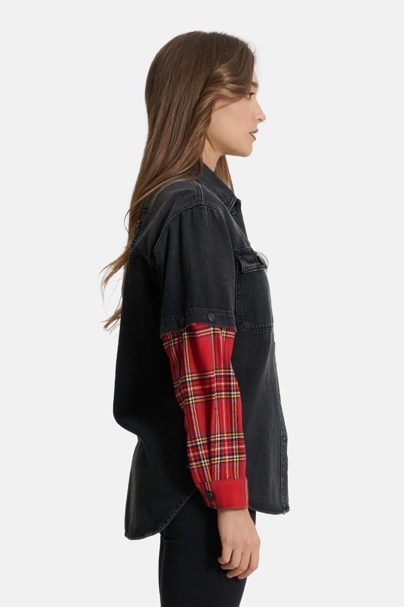 Camicia in jeans con mani -Nero