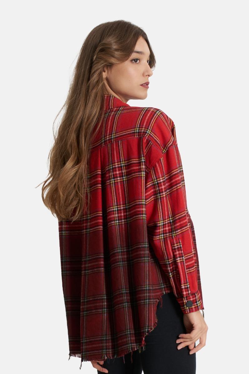 Camicia check tie dye con -Rosso