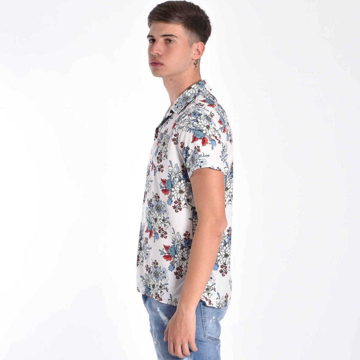 Camicia bowling floreale- Bianco