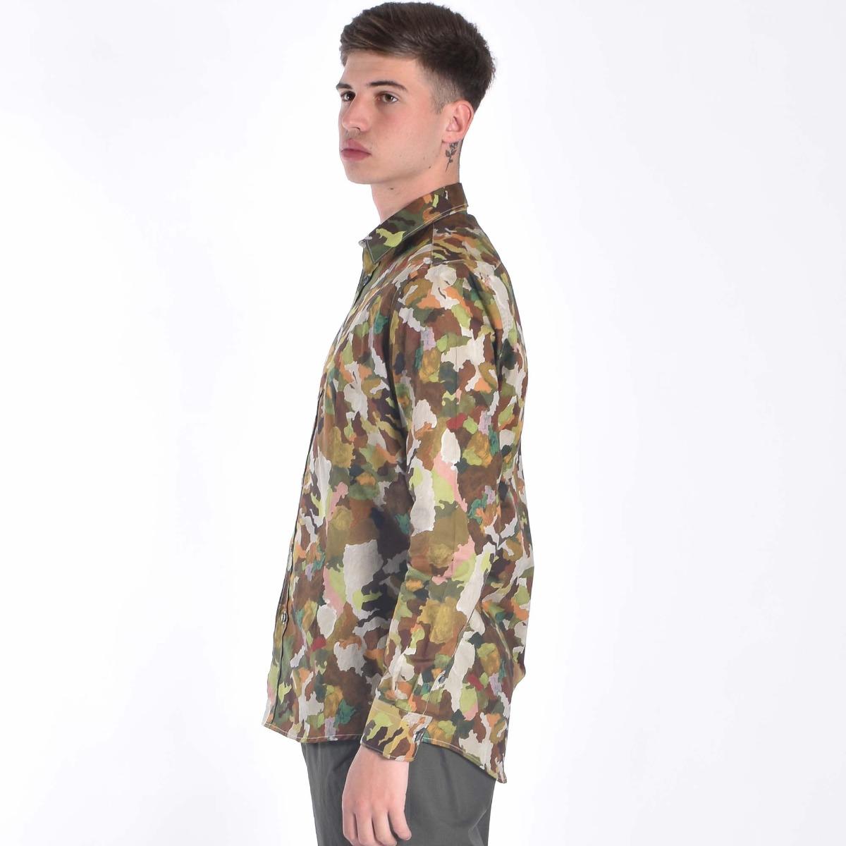 Camicia stampa camouflage- Verde