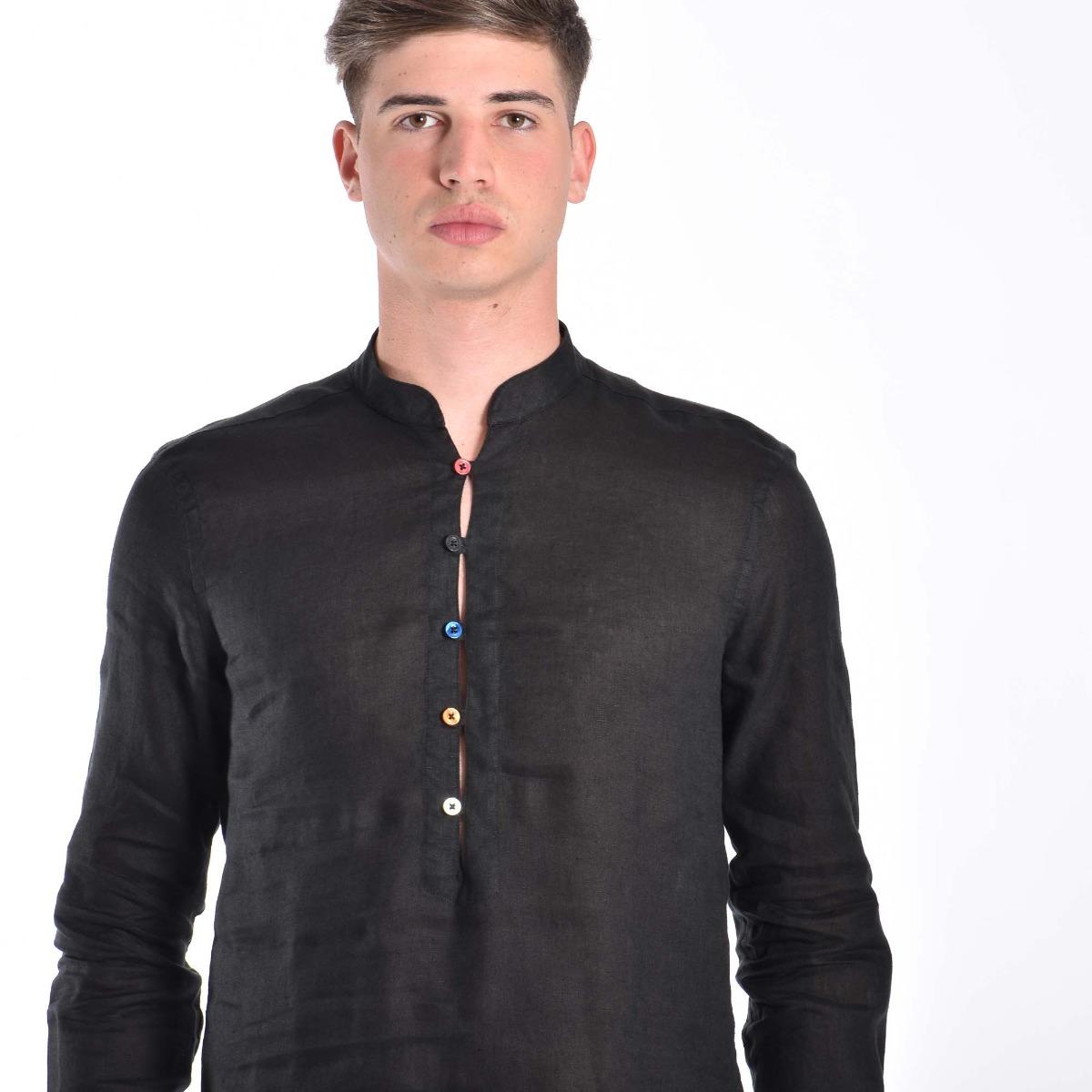 Camicia piano lino- Nero