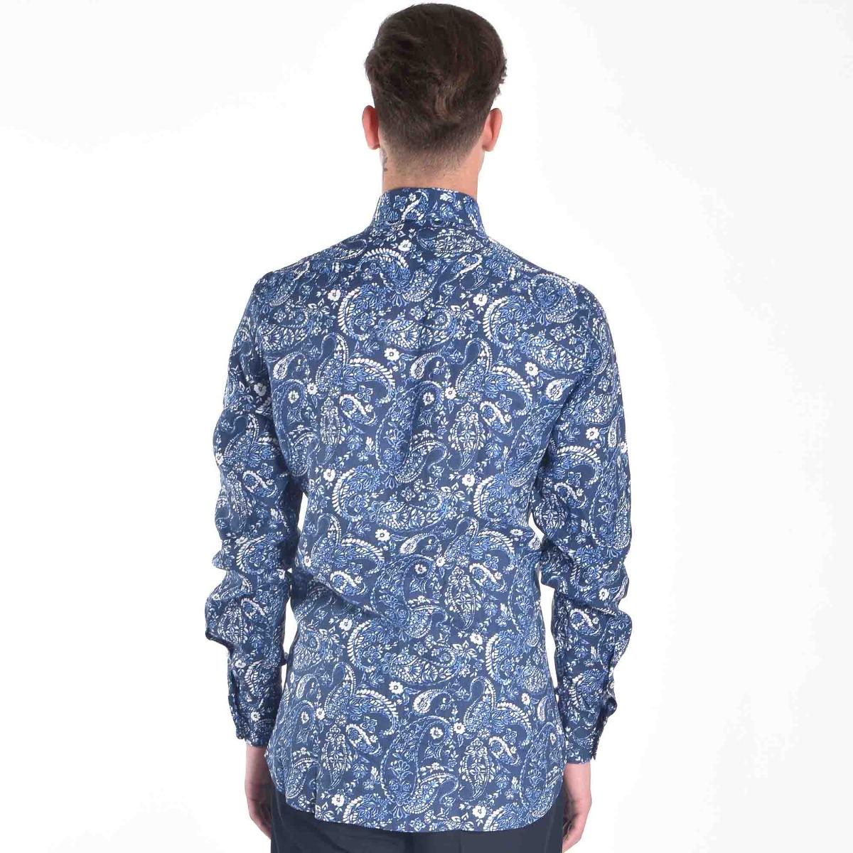 Camicia lino fantasia- Blu