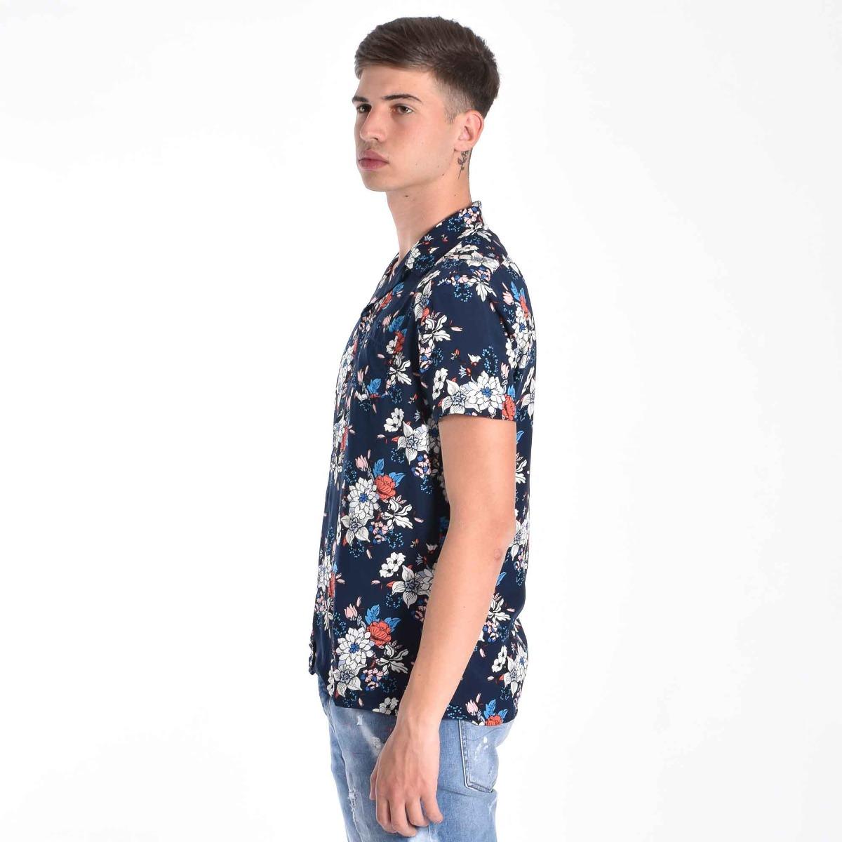 Camicia bowling floreale- Blu