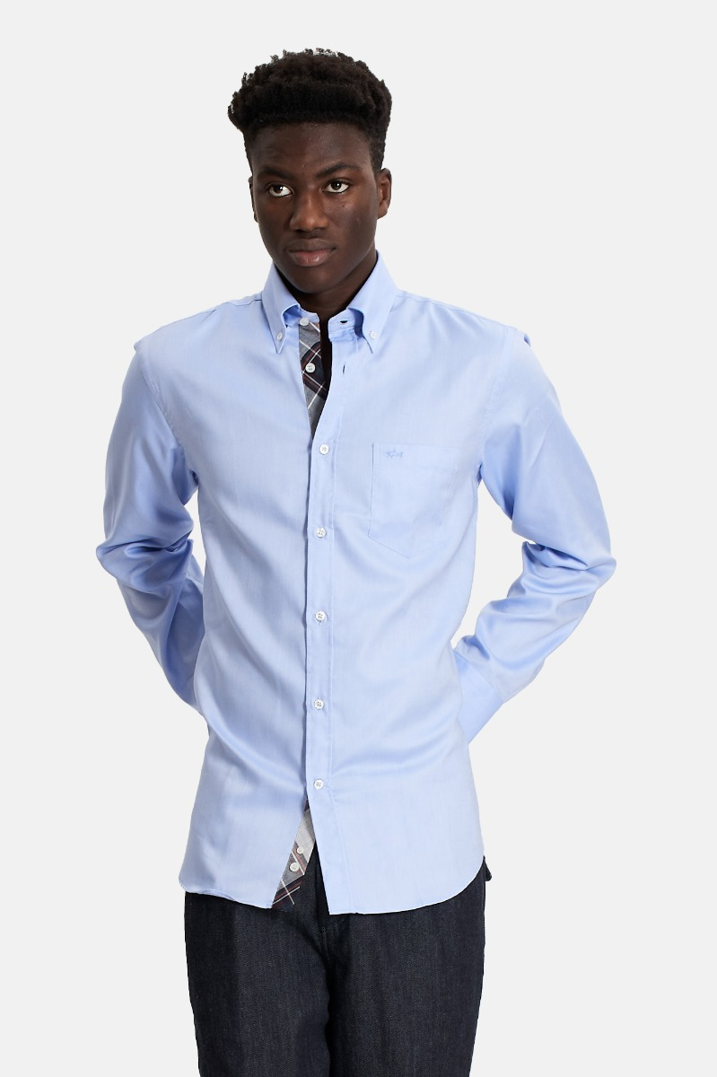 Camicia inserti contrasto- Azzurro