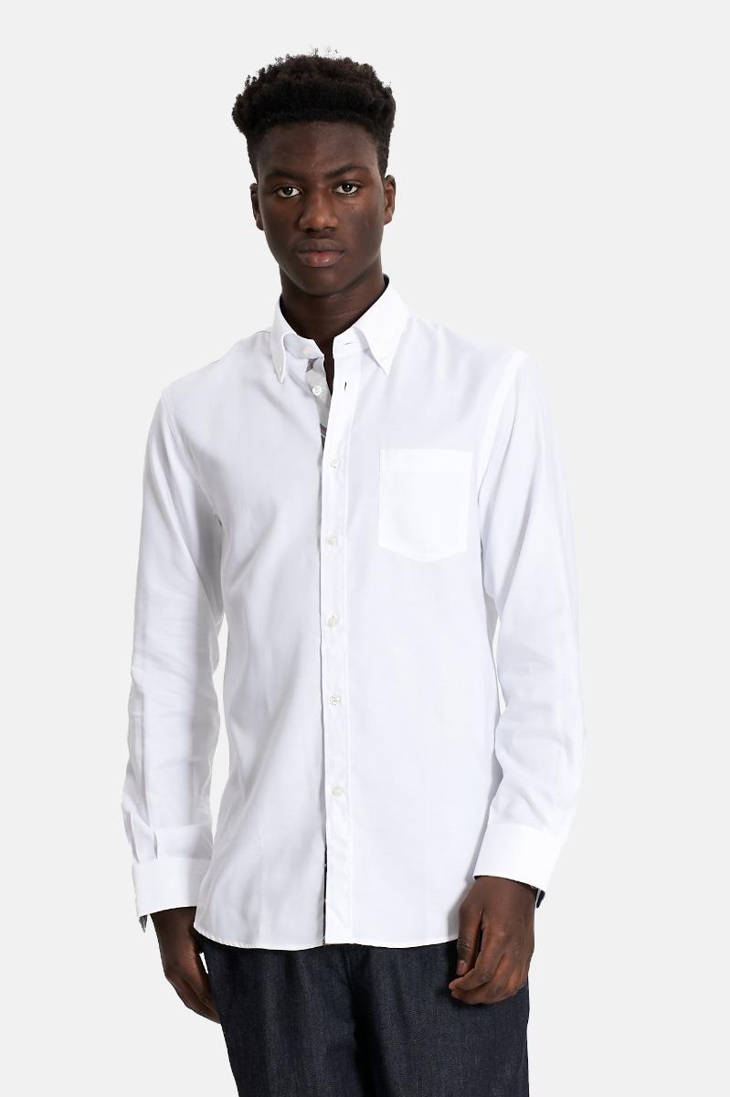 Camicia inserti contrasto- Bianco
