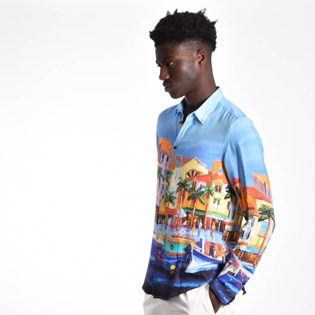 Camicia stampa porto - Multicolore