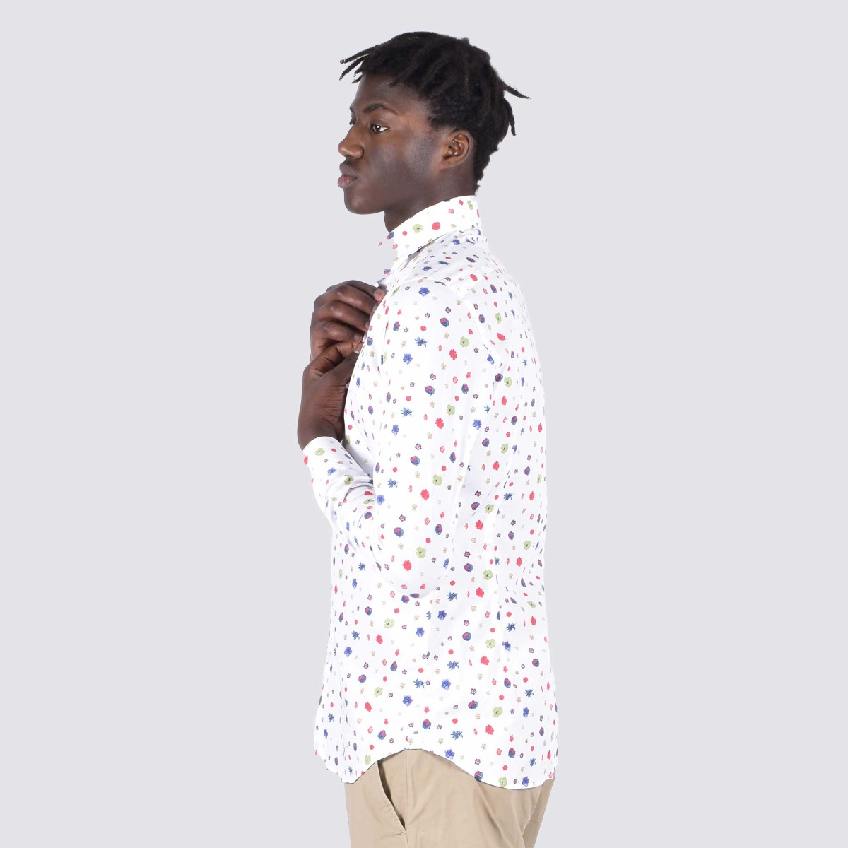 Camicia stampa fiori- Bianco