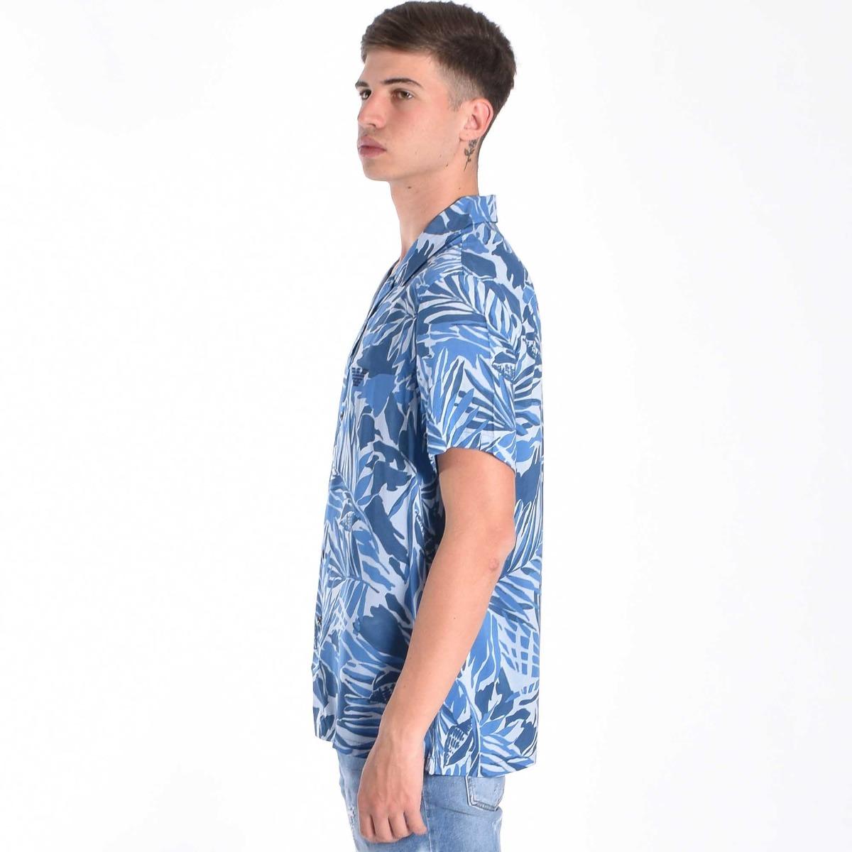 Camicia mc bowling - Tropic blu