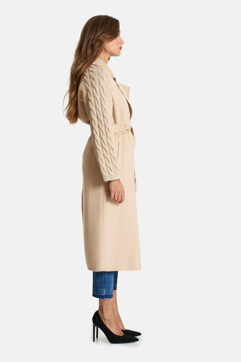 Cappotto manica maglia -Beige