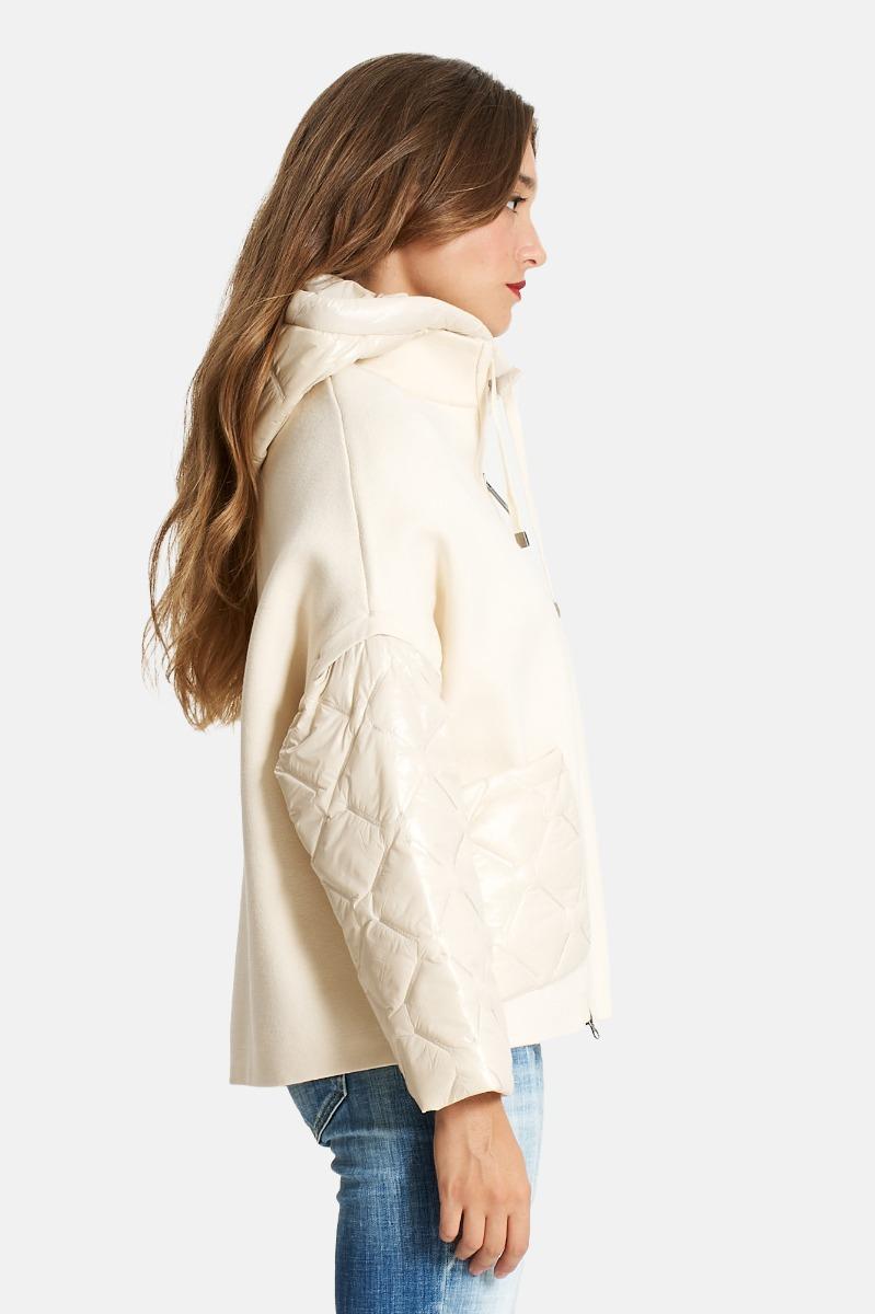 Cappotto tasca e mcanc trapunt -Crema