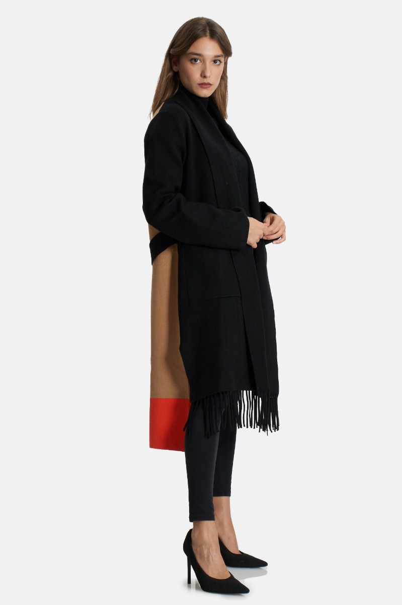Cappotto frange tre colori- Nero/ Cammello/Arancio