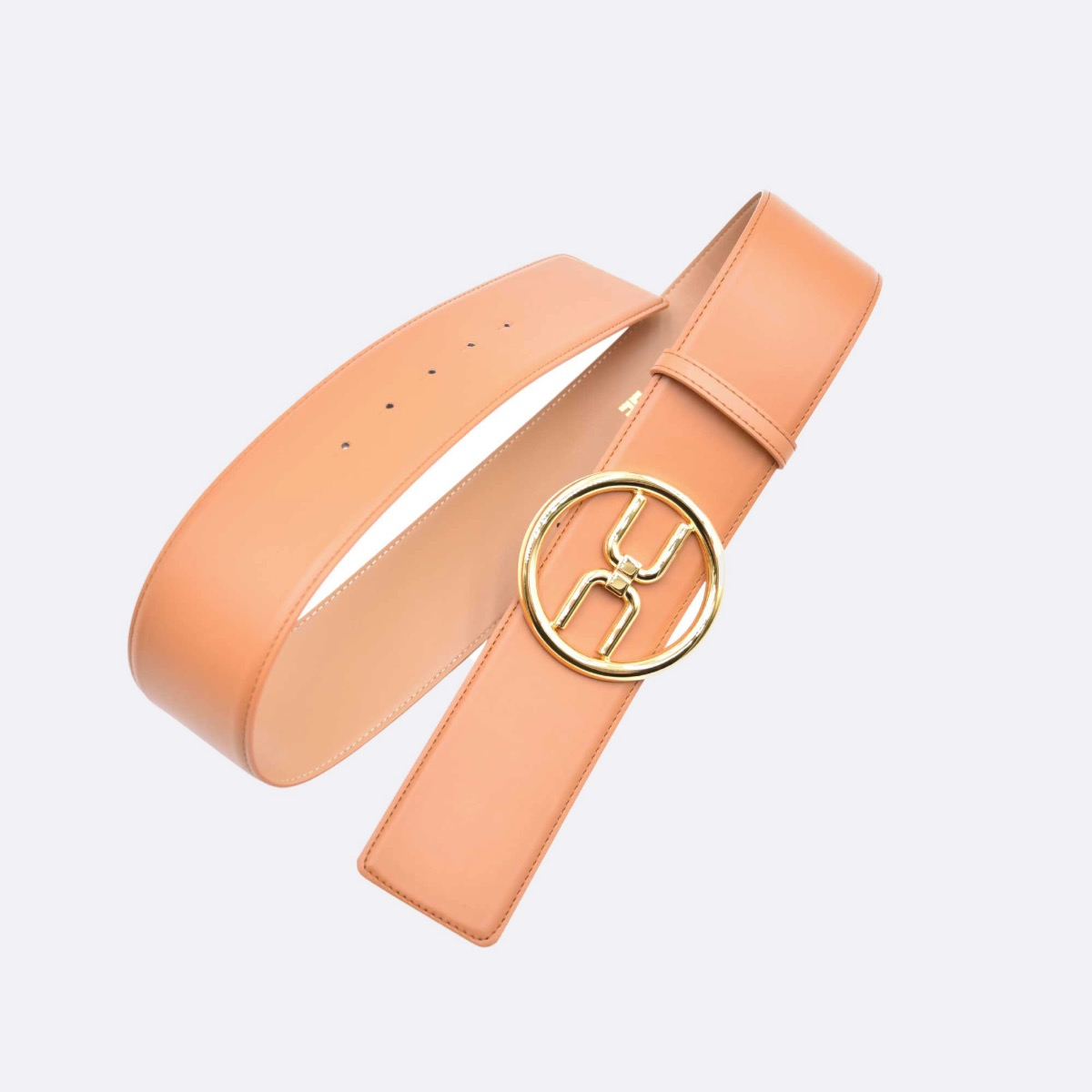 Cintura  logo gold - Cuoio