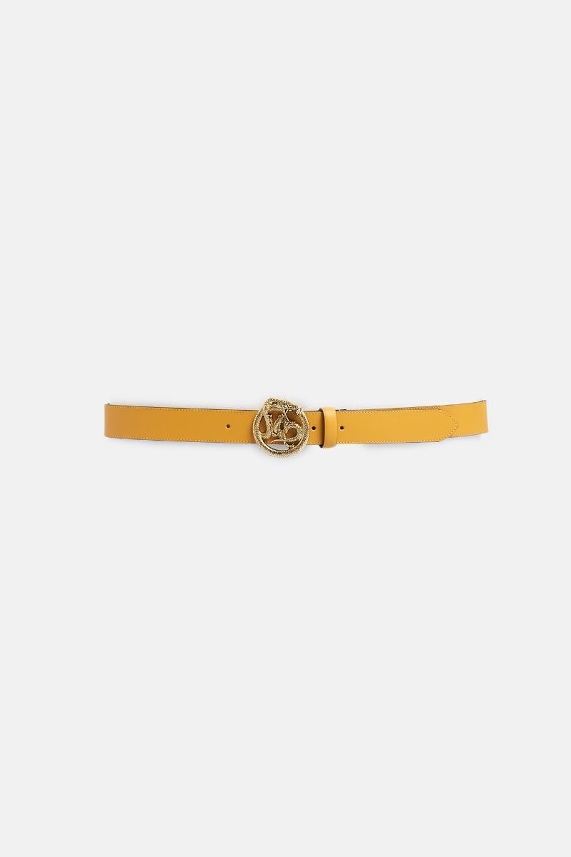 Cintura fibbia tonda serpente - Ocra