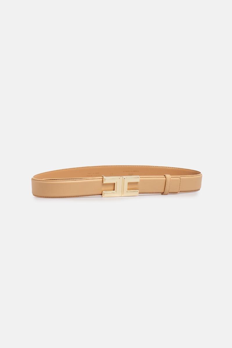 Cintura piccola logo metallo - Cammello
