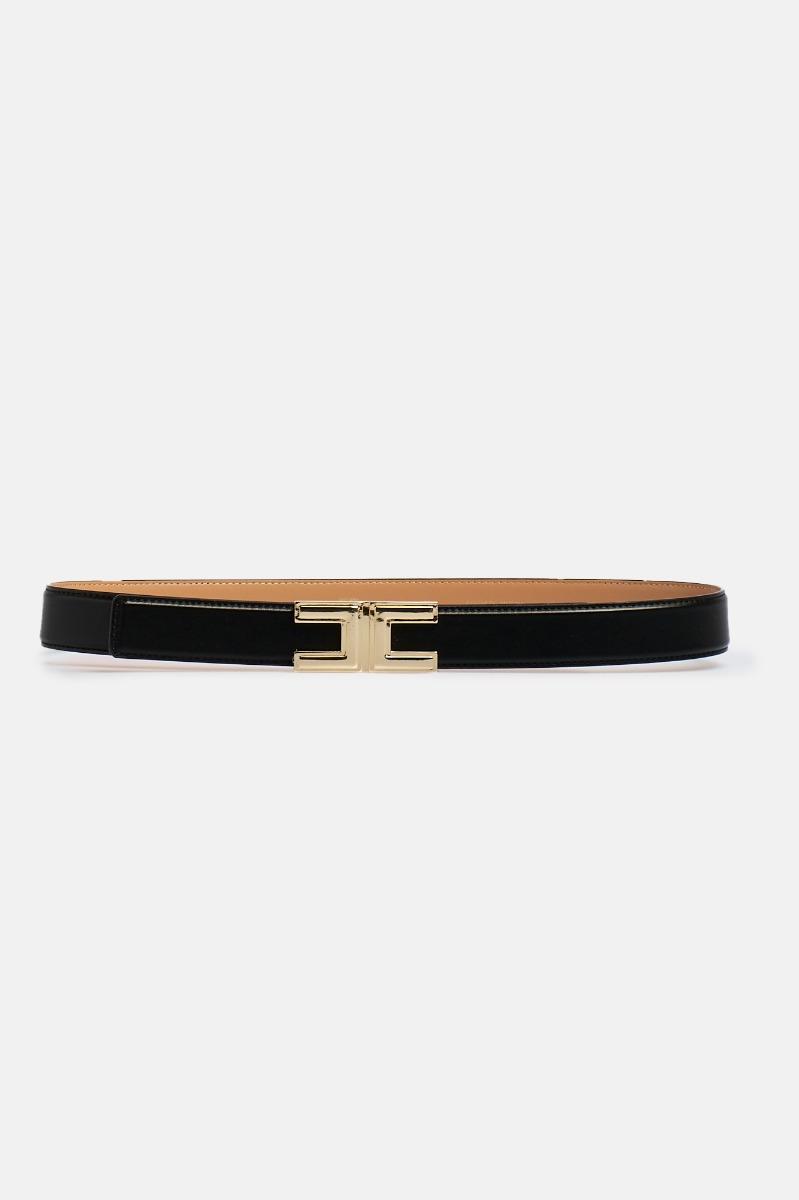 Cintura piccola logo metallo - Nero