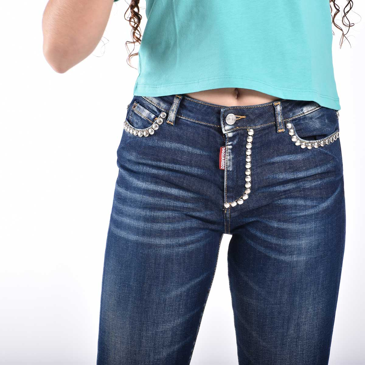 Jeans con borchie - Denim