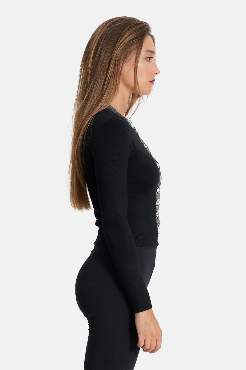 Cardigan gioiello -Nero