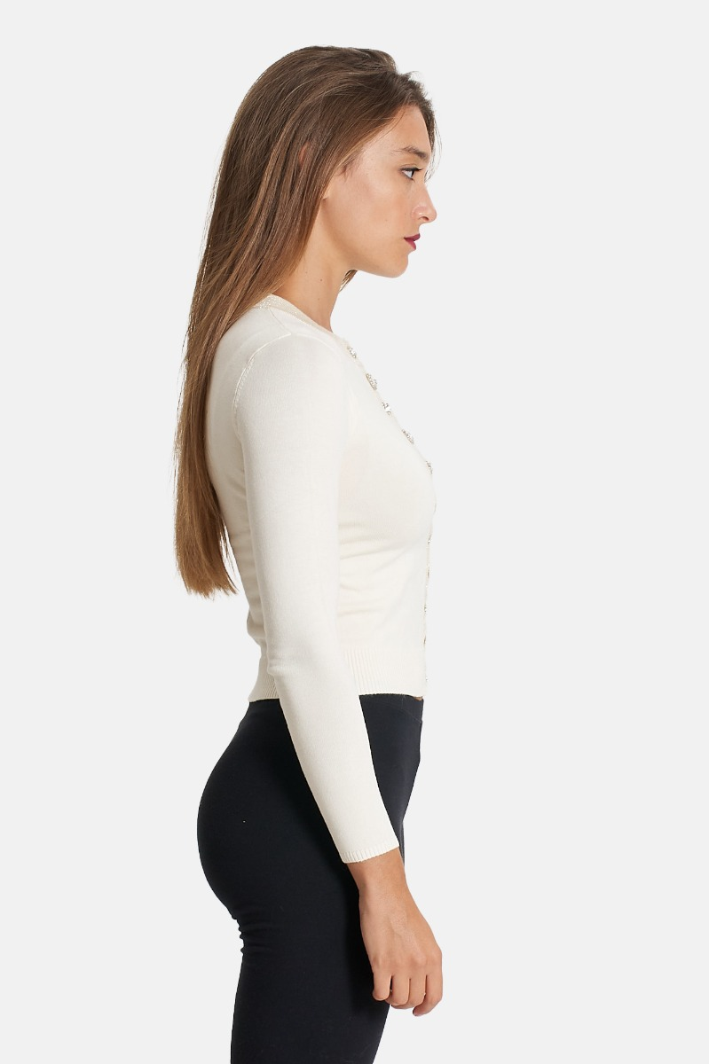 Cardigan gioiello -Bianco