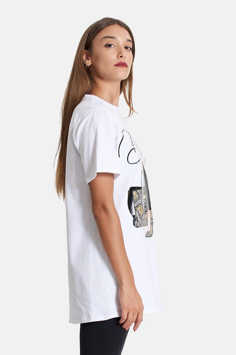 T-shirt stampa tacchi -Bianco