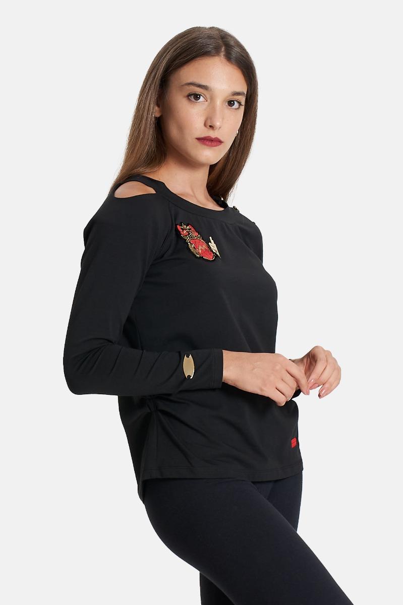 T-shirt ml spalle nude -Nero