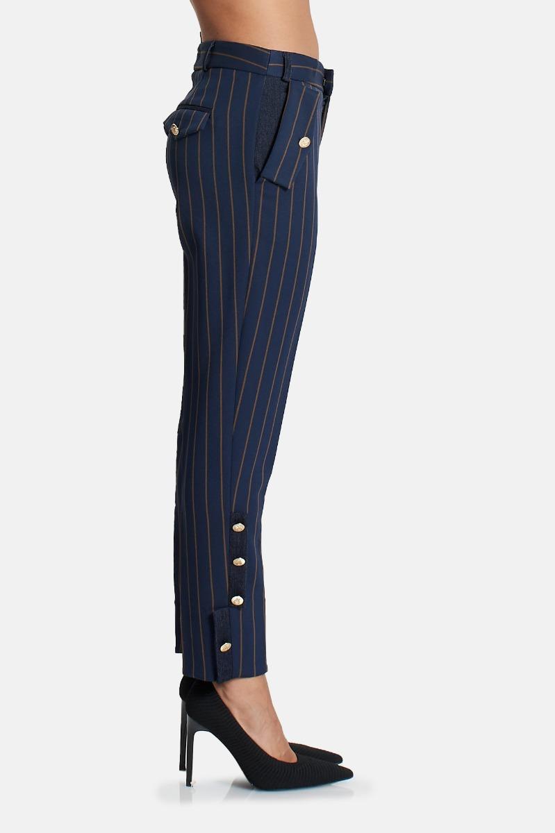 Pantalone gessato -Blu