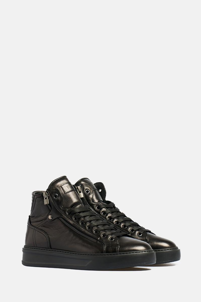 Sneaker alta lacci ezip -Nero
