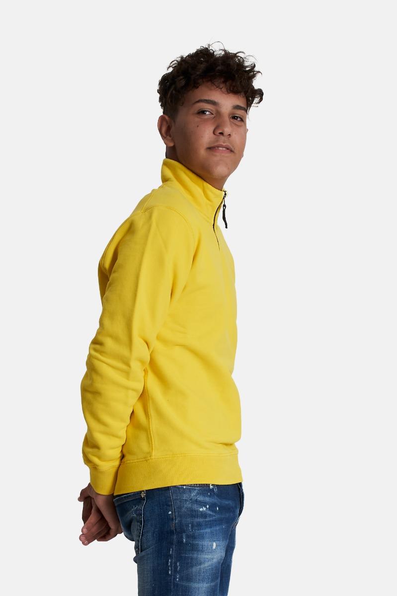 Felpa mezza zip-giallo