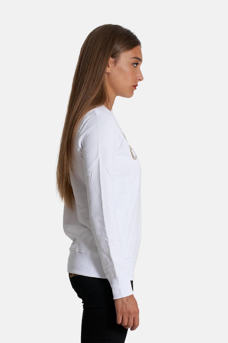 Felpa logo glitter-Bianco
