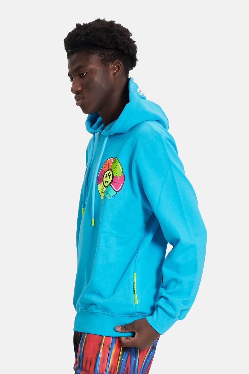 Felpa hoodie flower- Turchese