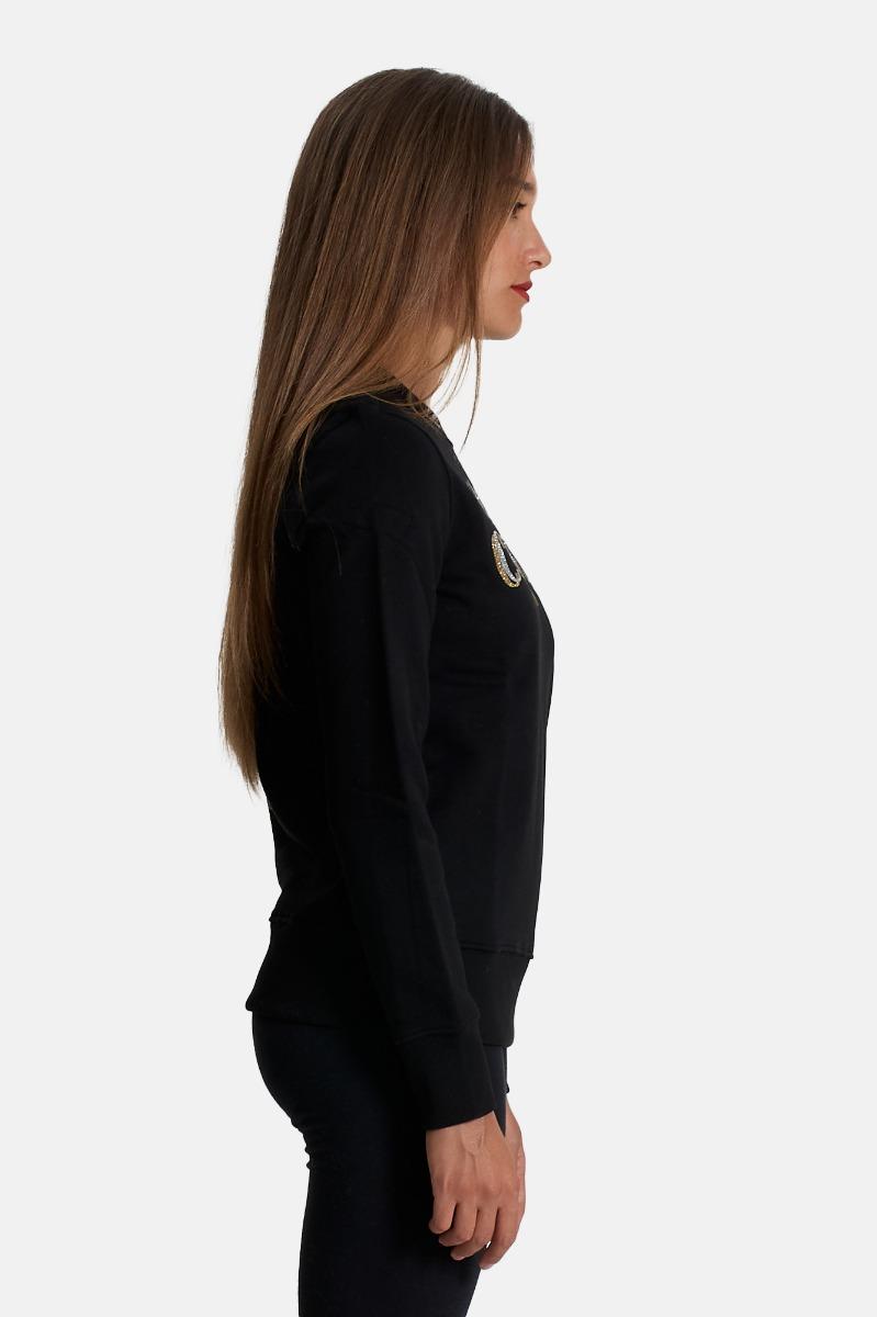 Felpa logo glitter - Nero versace jeans couture