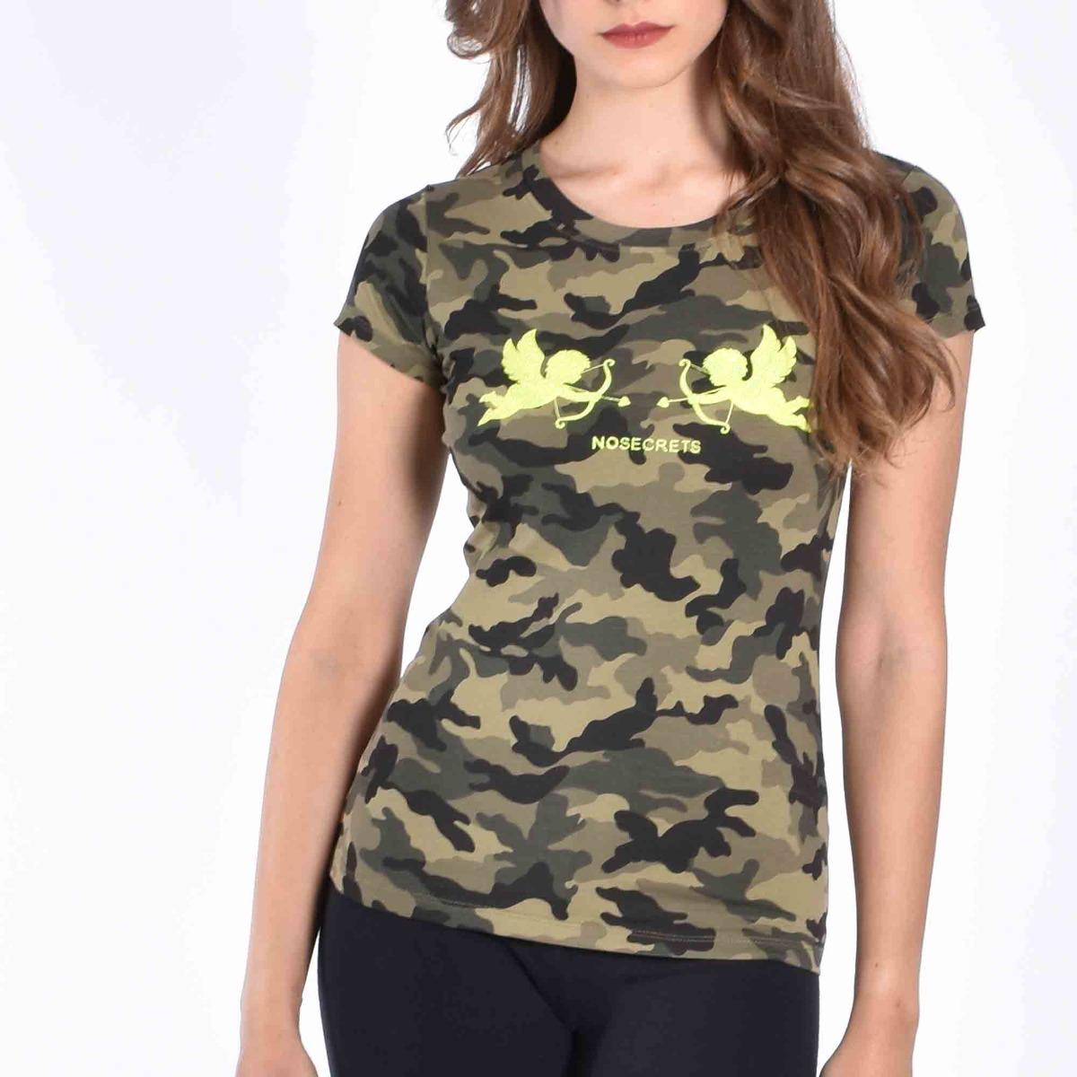T-shirt militare con angioletti - Verde/giallo