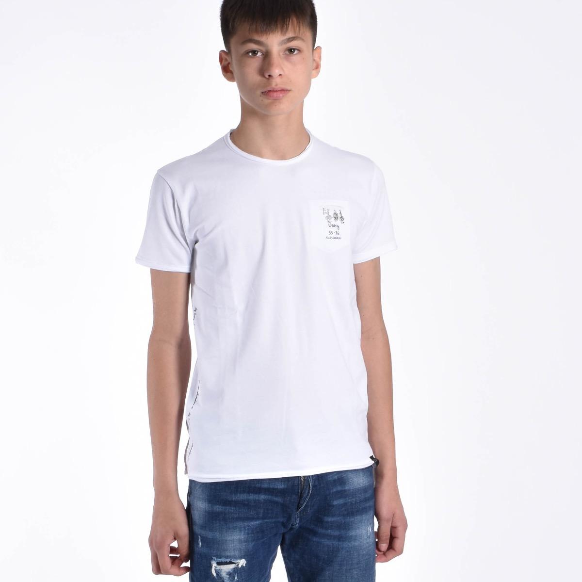T-shirt con taschino - Bianca