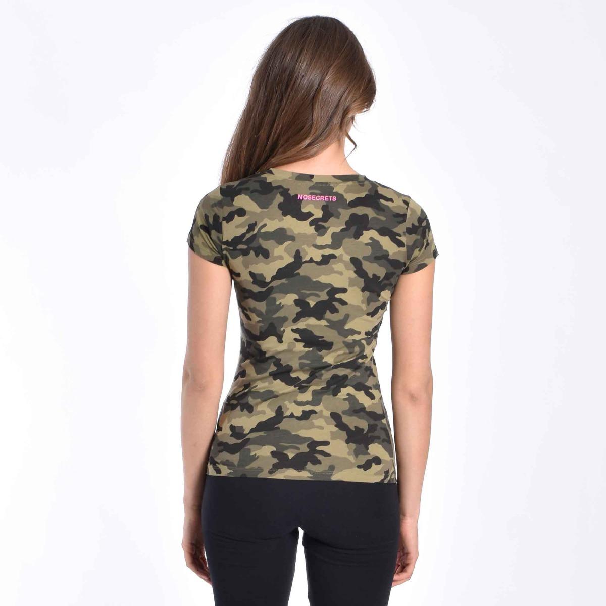 T-shirt militare con angioletti -Verde/fuxia