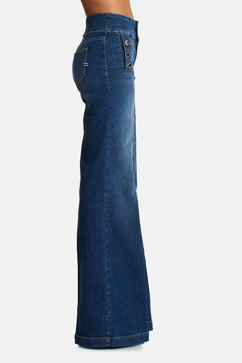 Jeans bottoni zampa -Denim