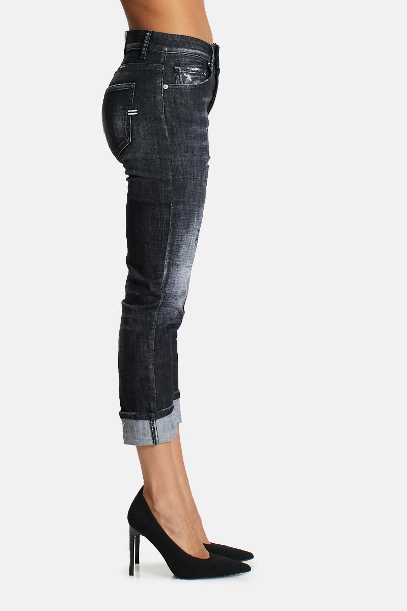 Jeans strappi e risvolto -Nero