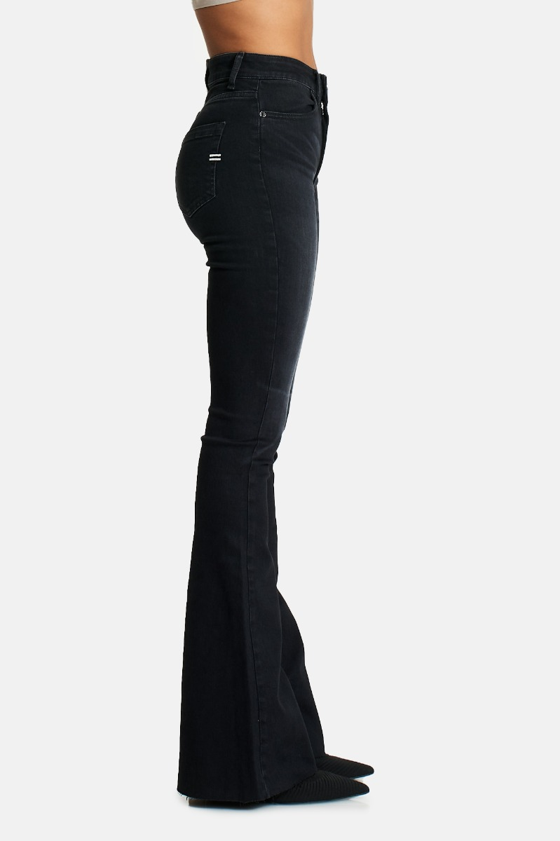 Jeans vita alta zampa -Nero