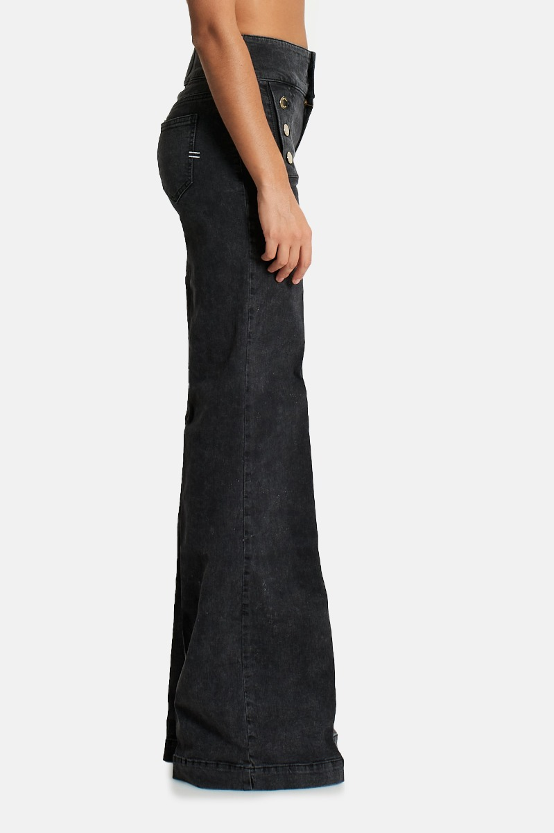 Jeans bottone zampa -Nero