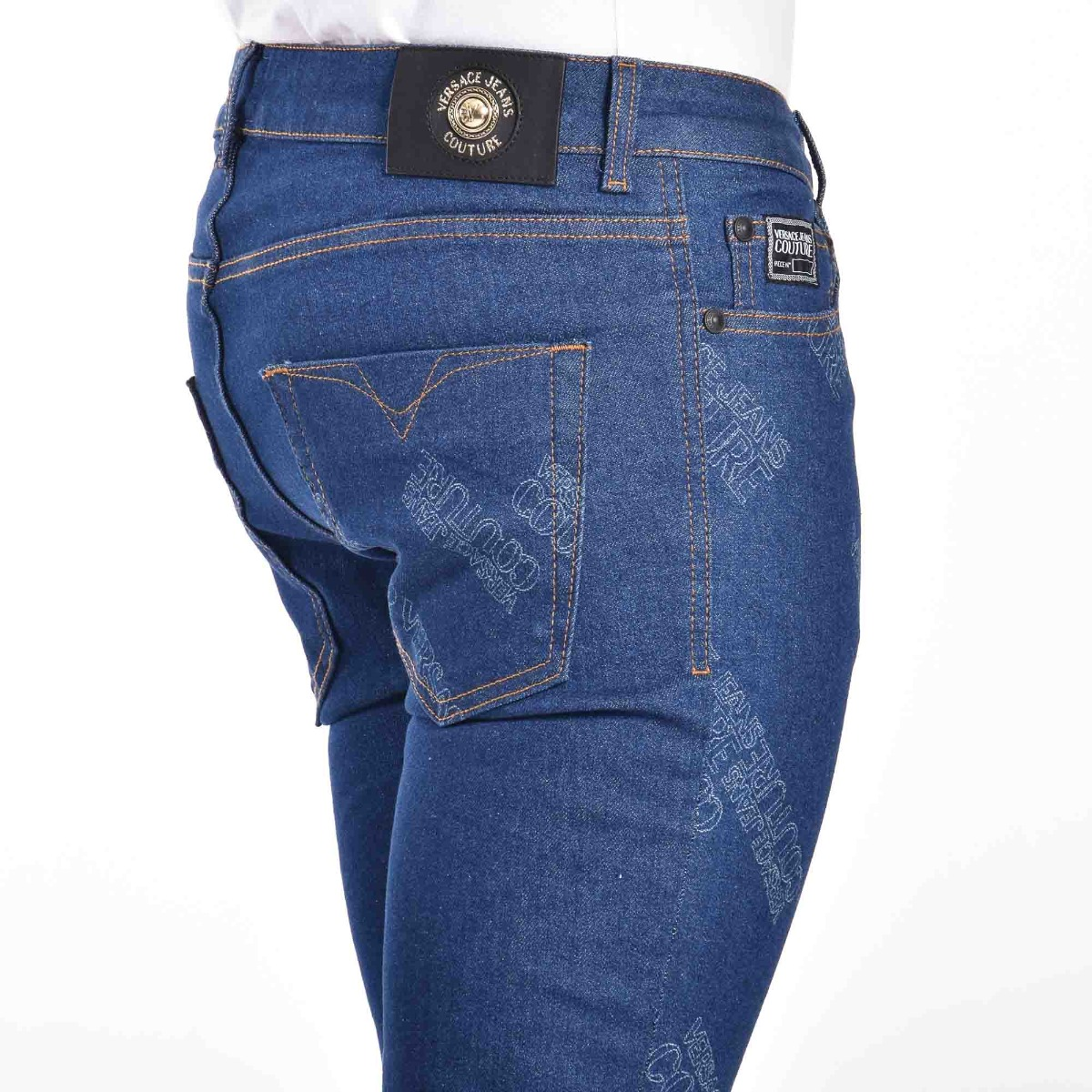 Jeans stampa all over lodo- Denim scuro