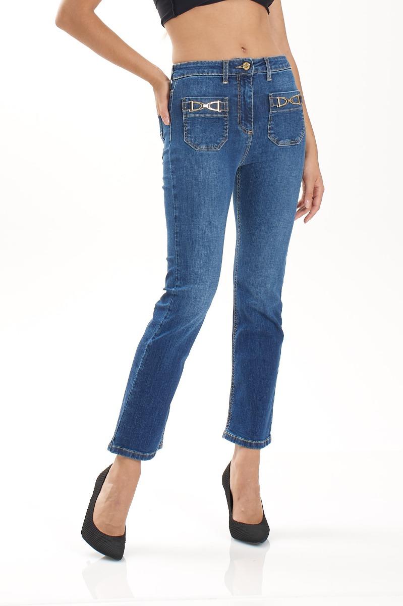Jeans mini flare morsetto- Blu vintage