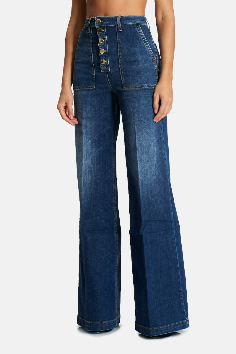 Jeans tasche grandi palazzo - Denim