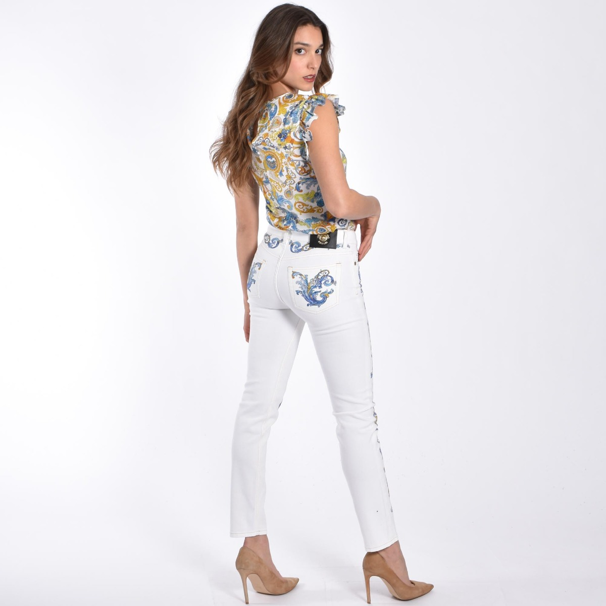 Jeans stampa cameo- Bianco