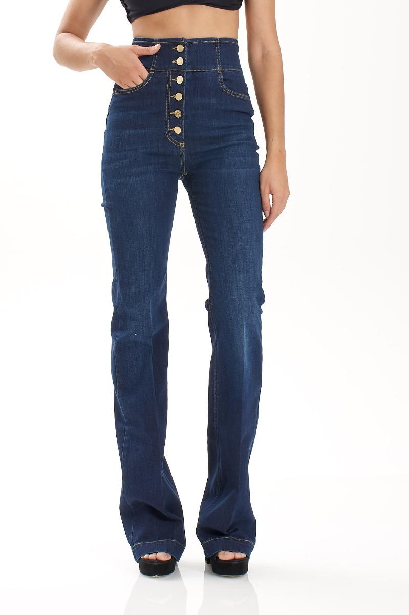 Jeans vita alta con bottoni- Blu vintage