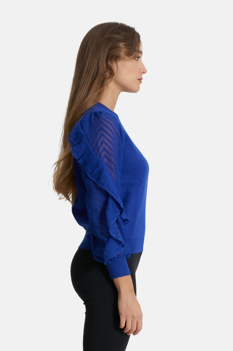 Maglia manica rouches -Blu